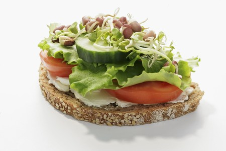 well made: Wholemeal bread topped with tomato, cucumber, lettuce & sprouts LANG_EVOIMAGES