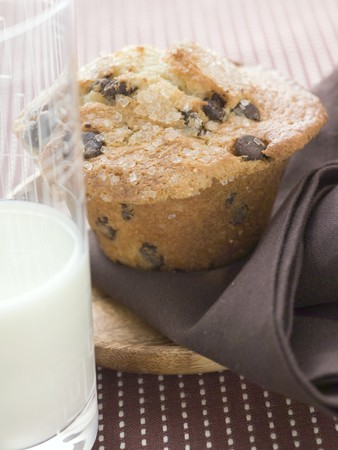 choco chips: Chocolate chip muffin, glass of milk