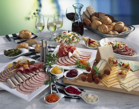 Cold buffet: cold cut platter, cheese, salad, bread & wine