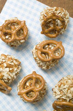 nibbles: Small balls of Obatzda (Camembert spread) with pretzels