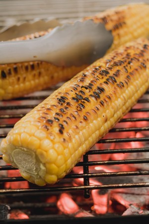 zea: Corn on the cob on a barbecue with barbecue tongs