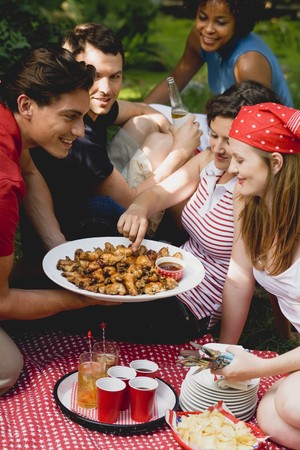 eating area: Young people at a 4th of July picnic (USA) LANG_EVOIMAGES