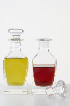 glass bottles: Olive oil and vinegar in small glass bottles
