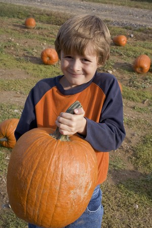 large pumpkin: Boy holding a large pumpkin in a field LANG_EVOIMAGES