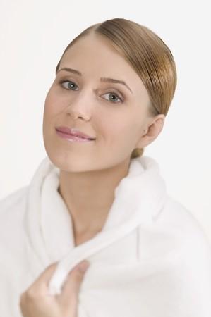 well beings: Woman in white bathrobe
