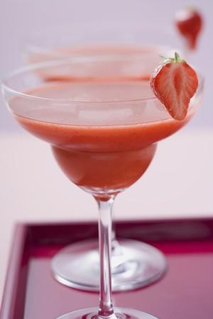 bacardi: Two glasses of Strawberry Daiquiri on tray