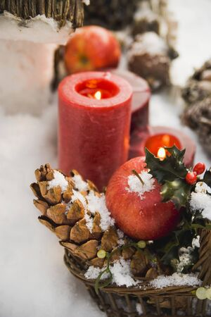 Christmas decorations: apples, cones and candles in snow LANG_EVOIMAGES