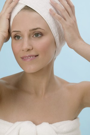 well beings: Woman with her hair wrapped in a towel