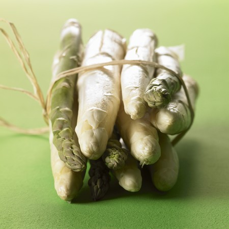 bunched: White and green asparagus, a bundle
