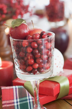 vaccinium macrocarpon: Christmas decoration with cranberries, Christmas gifts