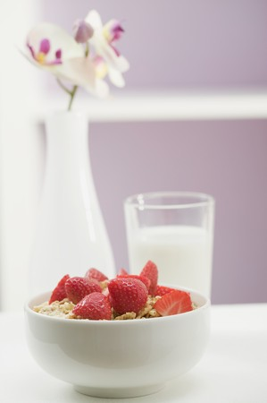 well made: Strawberry muesli in white bowl