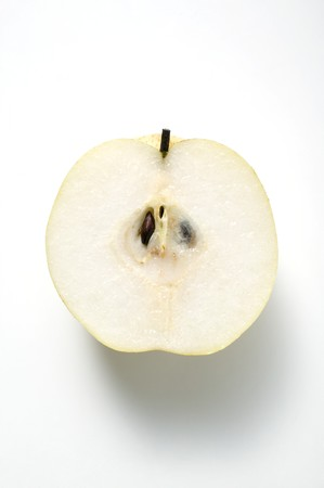 asian pear: Half a Nashi pear (overhead view)
