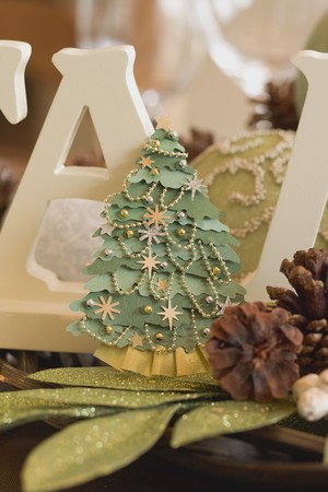 table decorations: Christmas table decorations (Christmas tree, cones)