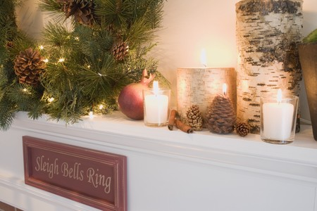mantelpiece: Mantelpiece decorated for Christmas (detail)