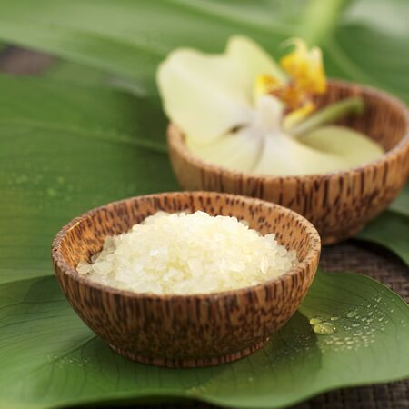 bath salts: Bath salts and orchids in wooden bowls