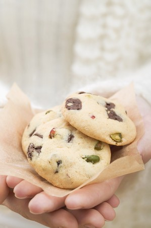 hold ups: Hands holding chocolate chip and cranberry cookies LANG_EVOIMAGES