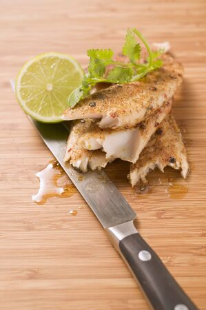 pangasius: Spicy pangasius fillet with lime and coriander leaves