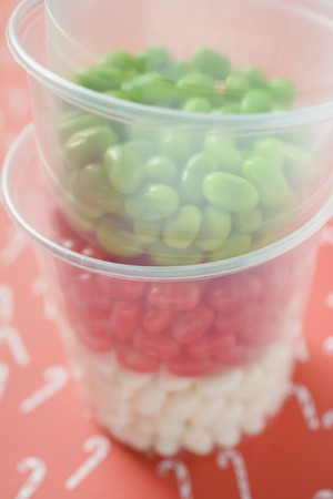 jellybean: Jelly beans in plastic tubs (for Christmas)