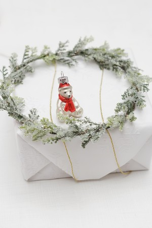 teddy wreath: Christmas tree ornament and wreath on Christmas parcel LANG_EVOIMAGES