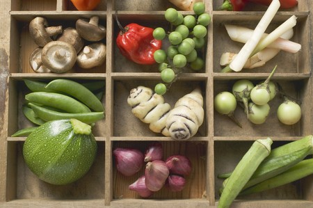 oka: Various types of vegetables, spices & mushrooms in type case LANG_EVOIMAGES