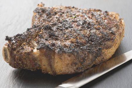 rib eye: Spicy fried rib eye steak, bone-in