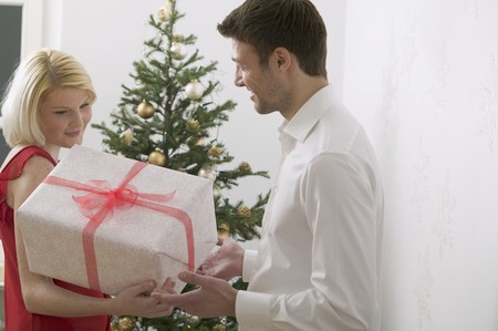 25 to 30 year olds: Couple with Christmas gift in front of Christmas tree