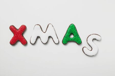 aaa: The word XMAS in iced chocolate letters LANG_EVOIMAGES