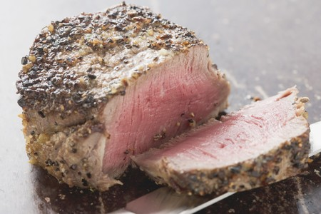 peppered: Peppered steak, a slice cut off