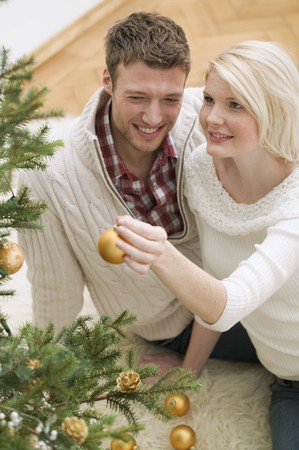 25 to 30 year olds: Couple decorating Christmas tree