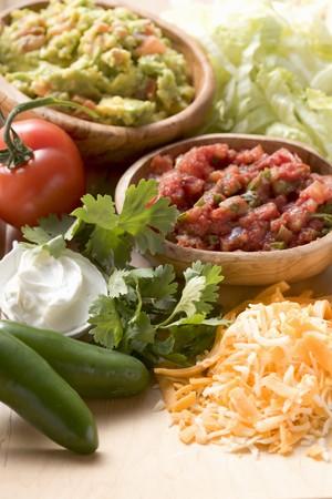 tex mex: Guacamole, salsa and wrap ingredients