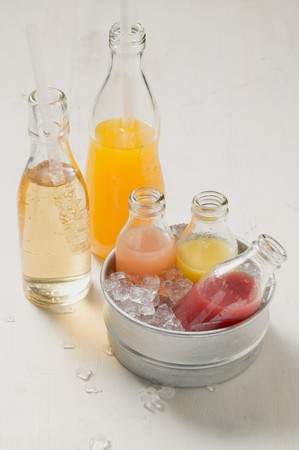 soda pops: Various smoothies and fizzy drinks in bottles