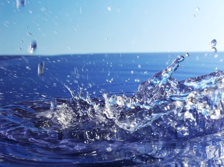 squirted: Splashing blue water