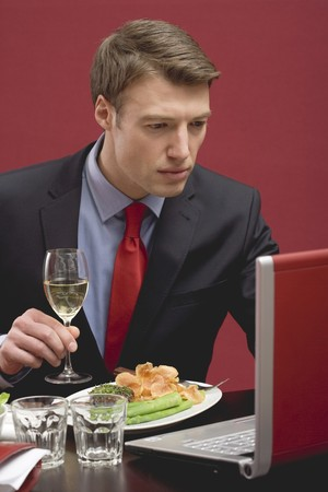 25 to 30 year olds: Businessman holding glass of white wine & working at laptop