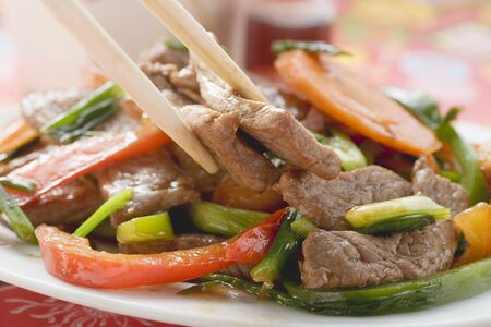 strips away: Stir-fried beef with vegetables (Asia)