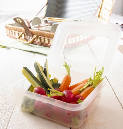 crudite: Raw vegetables in plastic container for a picnic