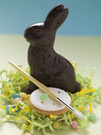 jellybean: Chocolate Bunny, jelly beans, cookie, paintbrush in Easter nest