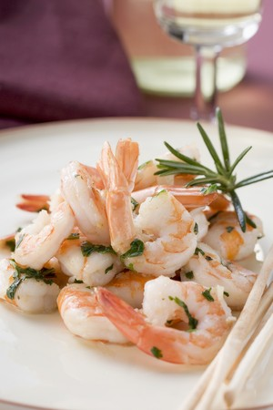 gambas: Fried prawns with rosemary and sesame grissini