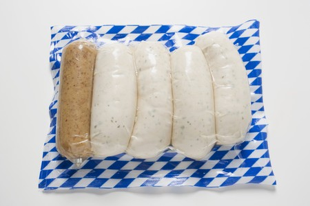 scalded sausage: Weisswurst (white sausages) with mustard (in packaging)