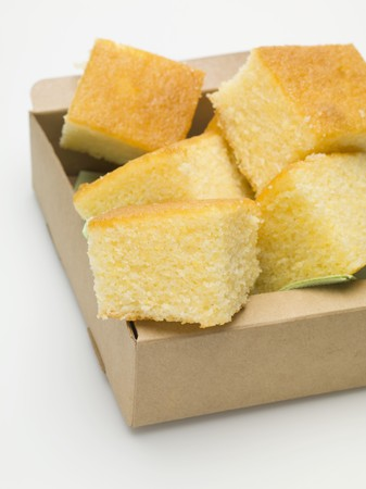 cornbread: Cubes of cornbread in cardboard box LANG_EVOIMAGES