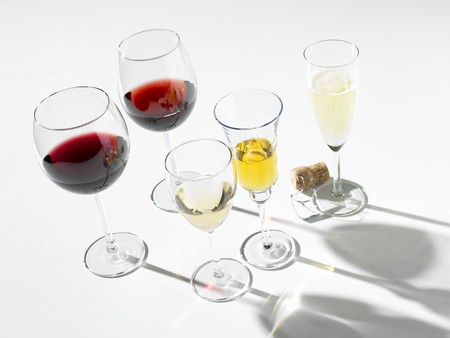 champers: Various wines in glasses, one glass of sparkling wine