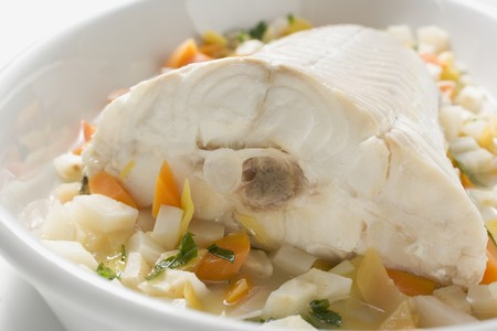 root vegetables: Fish on root vegetables