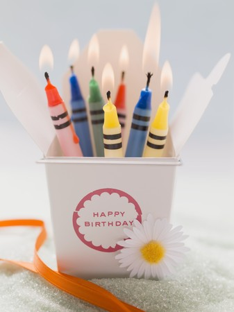 Crayon birthday candles (lit)