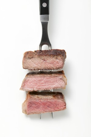 rare: Rump steak cooked to different degrees (rare, medium, well done)