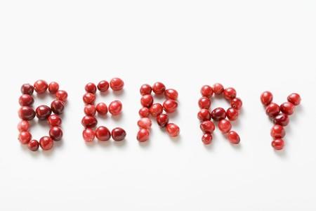 vaccinium macrocarpon: The word BERRY written in cranberries