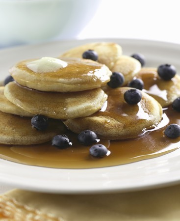 silver maple: Silver Dollar Pancakes with Blueberries and Maple Syrup