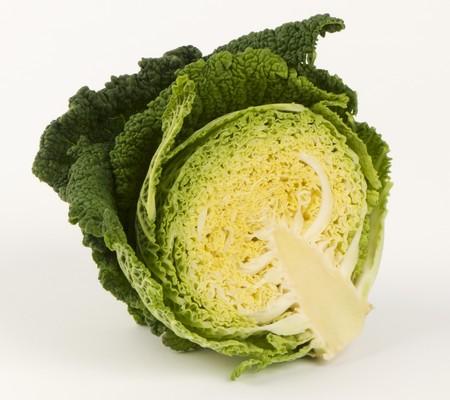 savoy cabbage: A halved savoy cabbage
