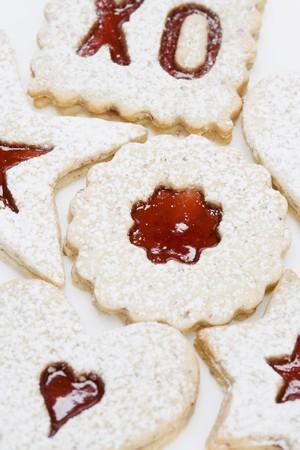 jam biscuits: Marmellata di biscotti spolverato con zucchero a velo