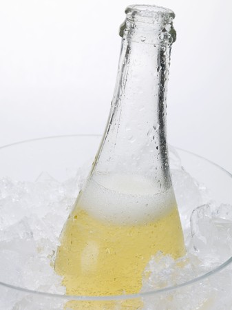 champers: Open bottle of sparkling wine in ice bucket