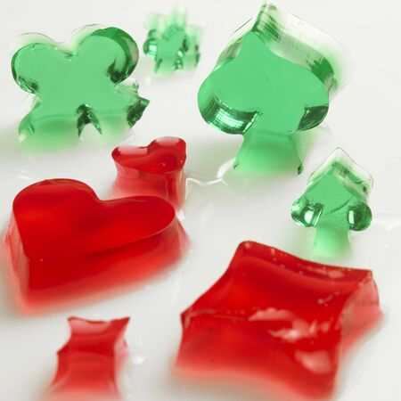 raspberry jelly: Playing card motifs in woodruff and raspberry jelly LANG_EVOIMAGES