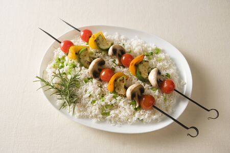 champignons: Vegetable Kabobs on Bed of Rice